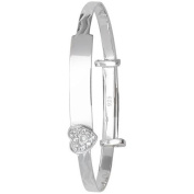 Sterling Silver 925 Baby Girl ID Bangle with Heart