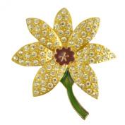 Yellow Daffodil Brooch / Crystal Flower Brooch / Yellow Daff