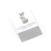 Rabbit pewter pin badge by Luna London, UK. Gift