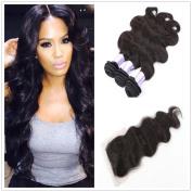 7a Grade Natural Colour 20cm - 60cm Body Wave 100% Brazilian Virgin Hair 3pcs Hair Extensions and 1pc Lace Closure