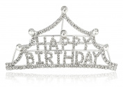 "Silvertone with Clear Stones ""Happy Birthday"" Tiara Comb Design Hair Piece"