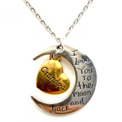 I Love You To The Moon And Back Gold & Silver Family Necklace Pendant Heart