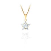 9ct yellow gold 10mm white cz star pendant / Gift box