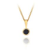 9ct yellow gold 5mm sapphire bezel pendant / Gift box