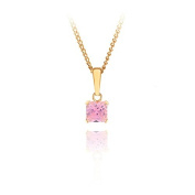 9ct yellow gold 5mm square pink cz pendant / Gift box