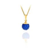 9ct yellow gold 8mm blue glitterball crystal pendant / Gift box
