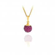 9ct yellow gold 8mm fuchsia glitterball crystal pendant / Gift box