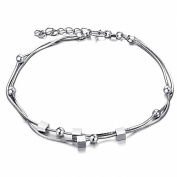 ONEWORLD Women Platinum Plated Anklet Metal Loops Pendant Foot Leg Chain Length Adjustable Anti-Allergy/Anti-Colour Fading