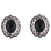 Clip On Earrings Store Victorian Jet Black Stone and Hematite Crystal Oval Clip on Earrings