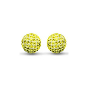 Sterling Silver 8mm Citrine colour crystal Stud Earrings