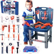 FunkyBuys® Kids Tools Work Bench Kit Set Folding DIY Construction Pretend Play Set Case Boys Toy w/ Battery Operated Drill