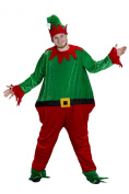 ELF MASCOT COSTUME - DELUXE CHRISTMAS ELF FANCY DRESS COSTUME - ALL IN ONE BODY SUIT, HEAD WITH ATTACHED HAT, STRIPED LEG WARMERS AND PLUSH ELF BOOTS - ONE SIZE