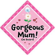 Gorgeous Mum On Board Car Sign, Pink Flower, Yummy Mummy On Board, Baby on Board, Car Sign, Bumper Sticker Style, Baby on board, Mum to be