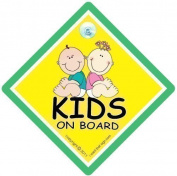 KID's On Board Car Sign, Kids on Board Safety Sign Green, Baby on Board Sign, FREE UK Postage, Bumper Sticker Style, Baby Car Sign, Funny Car Signs
