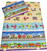 Babies-Island A 2 Piece Bedding Set Pillowcase+Duvet Cover For Baby Toddler To Fit Cot/Cot Bed - TRUCKS, PLANES, TRAINS