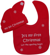 It's My First Christmas Let The Spoiling Begin Baby Feeding Bib & Beanie Hat/Cap Set 0 to 12 Months
