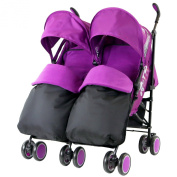 Zeta Citi TWIN Stroller Buggy Pushchair - Plum (Plum) Double Stroller Complete With FootMuffs