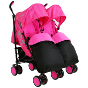 Zeta Citi TWIN Stroller Buggy Pushchair - Raspberry Pink Double Stroller Complete With FootMuffs