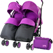Zeta Citi TWIN Stroller Buggy Pushchair - Plum Double Stroller Complete With FootMuffs And Bag