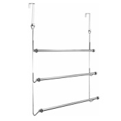 FunkyBuys® Branded Chrome Overdoor Towel Holder 3 Tier (SI-HH1003) Bars Rack Storage Bathroom Home