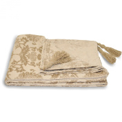 Damask Chenille Throw Over - Paoletti Beige Bed Blanket Sofa Throw 135 X 180 Cm Beige ( Cream ) 135cm x 180cm