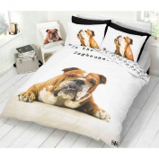 Sleepy Bull Dog Duvet Cover - Reversible Bedding Set With Cute Animal Paw Print
