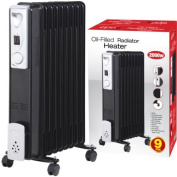 2000W 9 FIN PORTABLE OIL FILLED RADIATOR HEATER ELECTRICAL CARAVAN OFFICE HOME