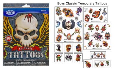 Boys Classic Temporary Tattoos - 50+ assorted tattoos
