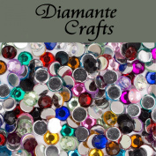 1000 x 4mm Mixed Colours Round Diamante Loose Flat Back Rhinestone Nail Body Vajazzle Gems - created exclusively for Diamante Crafts