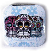 3 Sugar Skulls on White - Square Compact Handbag Mirror