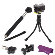 Sales La(R) Bundles Accessories Kit Set for Sony Action Cam HDR-AS15 AS20 AS30V AS100V,Monopod+Tripod Mount