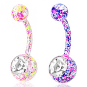 BODYA 2Pcs Gift Set Bling Stainless Steel paint Splatter Belly Button Ring Body Jewellery Piercing navel BarBell Hypoallergenic
