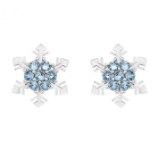 Ornami Sterling Silver and Crystal Snowflake 'Frozen' Inspired Earrings