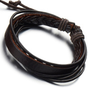 Mens Rope Leather Bracelet Black Brown Two-tone Genuine Leather Wrap Bracelet Wristband