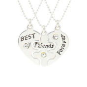 Jiayiqi Girls Unique Best Friends Forever Combination Necklace Three Friendship Pendant Necklace Gifts