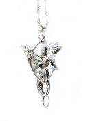 LOTR Lord Of The Rings Hobbit Arwen EVENSTAR Silver Colour Necklace Crystal Pendant Prop Replica with Gift Bag
