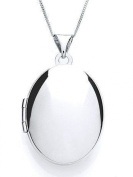 Plain Sterling Silver Oval Locket Pendant With 46cm Chain & Jewellery Gift Box