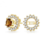 Christmas Gifts 925 Silver Gold Plated CZ Round Earring Jackets For Studs