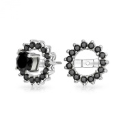 Christmas Gifts Sterling Silver Black Simulated Onyx CZ Round Halo Earring Jackets For Studs