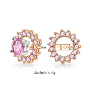 Christmas Gifts Rose Gold Plated Sterling Silver Simulated Pink Topaz CZ Earring Jackets For Studs