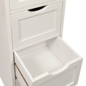 Woodluv 4 Drawer Floor Standing Bathroom Storage Cabinet Storage Unit - White