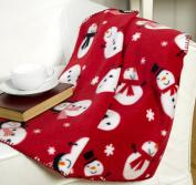 Snowman Red Polyester Fleece Christmas Throw