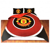 Manchester United Official Reversible Double Duvet Cover Set - Red/Black