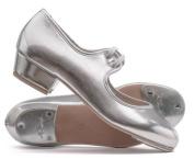 Girls Ladies Silver PU Low Heel Tap Dance Shoes With Tap Plates Katz Dancewear