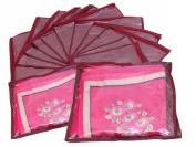 FiNeWaY@ 10 x CLEAR SAREE CLOTHES GARMENT SARI STORAGE BAGS WARDROBE ORGANISER MAROON