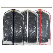 """Hangerworld Pack of 3 Clear Suit / Garment Clothes Cover Bags with Mixed Trim Colours - 40"""""""