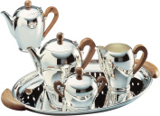 Officina Alessi Bombe Sugar Bowl with Applewood Handles, Silver
