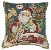 Rooftop Santa & Reindeer Tapestry Style Christmas Cushion Cover 45x45cm (18inch) Blue/Red/Green