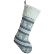 SORRENTO Knitted Reindeer Body with Ivory Sherpa Cuff Christmas Stocking 25cm x 48cm , Silver Grey