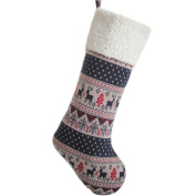 SORRENTO Knitted Vintage Print Reindeer,Back to Clean Ivory Sherpa Stocking - 25cm x 48cm